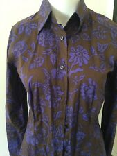 ETRO Shirt Brown Gray w Purple floral button front blouse womens Italian size 42