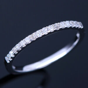 Half Eternal Wedding Solid 10K White Gold Band 1.48mm Wide Pave Diamonds Ring