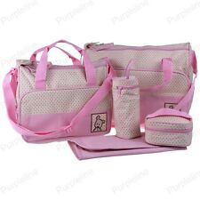 Multi Function Baby Diaper Nappy Changing Bag Mummy Tote Shoulder Handbag Pink