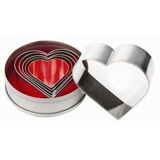 Heart Pastry Cutter Set Biscuit Shape Per 6 Shortbread Cookie Cutters Catering