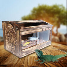 Reptiles Enclosure Wooden Cage Lizard Frog Snake Turtle Crab Tank with Lock