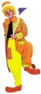 Clown Costume Men's 3 Pc Neon Yellow & Orange Polka Dot Pants Jacket & Tie