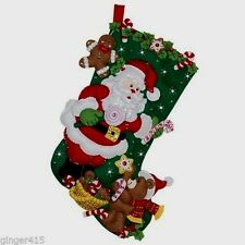 Bucilla SANTA & TEDDY BEAR Felt Christmas Stocking Kit #86448 Discontinued 18""