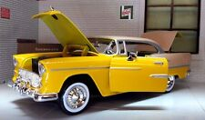 G LGB 1:24 Scale 1955 Yellow Chevrolet Chevy Bel Air Motormax Model Car 73229