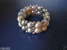 PEARL HONORA STRETCHING RING SIZE 6.5 7 8 9 MULTICOLOR SILVER GIFT Valentine's