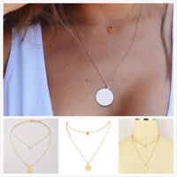 Fashion Multilayer Gold Plated Round Shape Pendant Chain Choker Necklace Jewelry