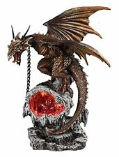 """12"""" Yellow Roaring Dragon with LED Light Up Orbe Decorative Statue Fantasy"""