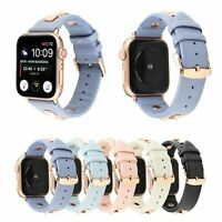 38/42/40/44mm Soft iWatch Leather Band Rivet Strap fr Apple Watch Series 5 4 3 2