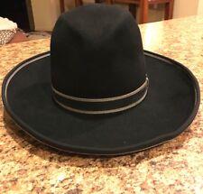 """10X BEAVER HATS 6 7/8 - 100% Fur (no Other Fibers) Black Cowboy Hat 21 5/8"""""""