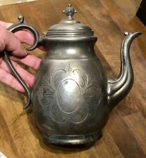 """Antique American Pewter Teapot, Bright Cut Engraved, Marked """"...te Middletown"""""""