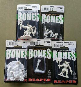 Reaper BONES - Five Assorted 28mm Fantasy Miniatures - NEW IN PACK