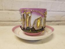 """Antique Carl Tielsch """"Mama"""" Cup and Saucer with Pink and Gold Decorations"""
