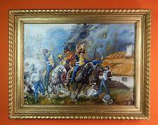Vintage Signed Kuskowski Oil on Canvas Large Framed Battle Scene Painting