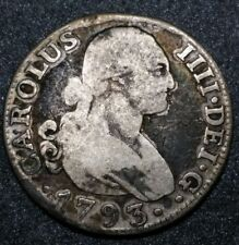 1793☆ SPAIN ☆2 Reales King Charles IIII Madrid, Mexico Mint Colonial Silver Coin