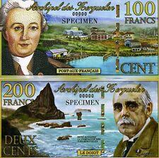 SPECIMEN SET Kerguelen Island 100;200 Francs, 2010, POLYMER UNC