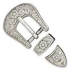 "Western Rodeo Cowboy Decor Diablo 3 Piece Buckle Set For 1 1/2"" Wide Leather"