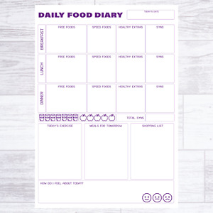 A6 POCKET FOOD DIARY SLIMMING WORLD COMPATIBLE DIET PLANNER PAGES WEIGHT LOSS