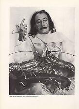 "1976 Vintage SALVADOR DALI ""DALI, LOBSTERS, SAINT REGIS HOTEL NY"" B&W Lithograph"