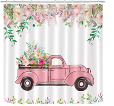LB Farm Truck Flower Shower Curtain Set Rustic Farmhouse Style Pink Floral with