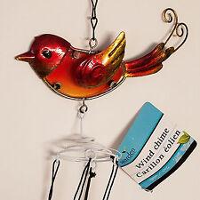 Bird Wind Chime Glass Metal Reds Coppers Yellow Garden Patio Windchime Pool Yard