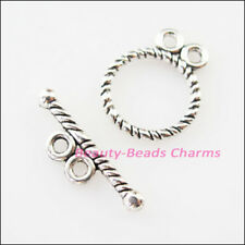 15 New Connectors Necklace Round Circle Toggle Clasps Tibetan Silver Tone