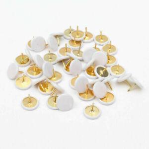 50pcs Drawing Pins Brass White Thumb Tacks Push Board Cork 10mm*10mm