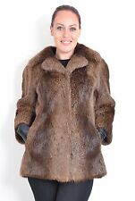 US487  CANADIAN LONG HAIR BEAVER no mink Nutria Fur Jacket Pelzjacke ~ Size M