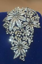 "1940's 3"" Crown Trifari Clear Rhinestone Rhodium Plated Brooch Fur Dress Clip"