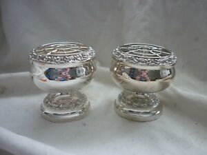 Pair of Clean POSY VASE by IANTHE Vintage SILVER PLATE Flower Arranging POTS