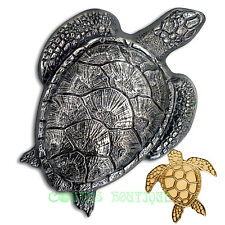 SEA TURTLE SET-Silver coin antiqued and Gold Coin Palau 2017