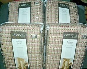 """4 NEW  54""""W X 84""""L Croscill Briana Tailored Window Panel Color: Rosebud"""