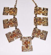 Vintage MARBEL Mexico Gold Aztec Mayan God Panel Necklace