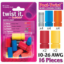 POSI-TWIST 10 - 26 AWG ASSORTMENT NON IN-LINE WIRE CONNECTORS, REUSABLE - 16 PK