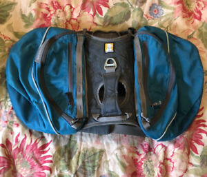 RUFFWEAR Size Small Dog Back Saddle Bags Harness Zipper Pouch Gray Blue Clean EU