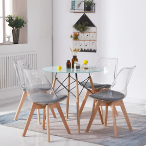 Dining Chair Transparent Upholstery Pack of 2 Kitchen Furniture Wooden Legs