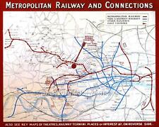 Map. 1922-3. London, UK. Underground Metropolitan Railway & Connections