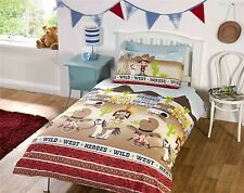 KIDS COWBOYS AND HORSES BROWN RED DOUBLE COTTON BLEND DUVET COVER SET