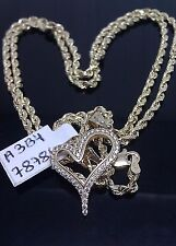 """Heart Pendent 10K Yellow Gold, lab Created Diamonds with 22"""" 10K Rope Chain A3B4"""