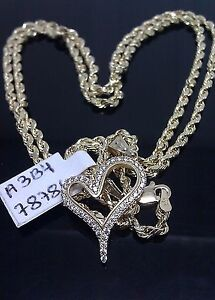 "Heart Pendent 10K Yellow Gold, lab Created Diamonds with 22"" 10K Rope Chain A3B4"