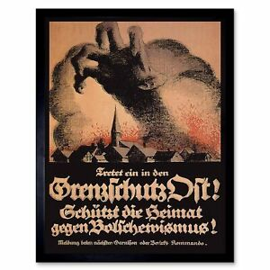 Political Propaganda Anti Bolshevik Weimar Republic Germany Vintage Framed Print