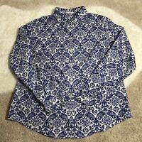 Chico's Women's No Iron Blue Rare Geometric  Long Sleeve Blouse Button Up Size 0