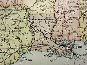 1919 Groß Karte ~ United States & Mexico Florida Texas Iowa Bevölkerung Dichte