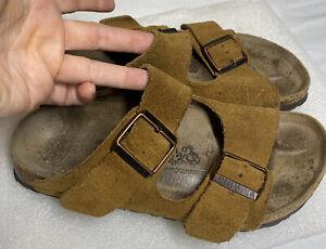 🌿BIRKENSTOCK 230 Sz 5.5 Medium Brown Leather Sandals Copper Buckles
