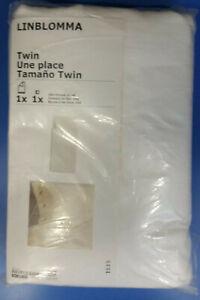 IKEA Linblomma LINEN Duvet Cover and Pillowcases Set WHITE King QUEEN Full TWIN