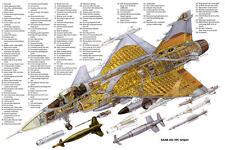 SAAB JAS 39C GRIPEN AIRCRAFT CUTAWAY POSTER PRINT 24x36 HI RES