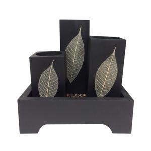 Set of Mango Wood Candle Holder Tea Light Black Square Shape Leaf with Tray