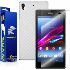 ArmorSuit MilitaryShield Sony Xperia Z1S Screen Protector + White Carbon Skin