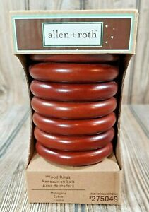 Allen + Roth Pack of 7 Mahogany Wood Curtain Rings, New in Box