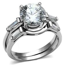 Steel Engagement Promise Ring Set 3.50ct Round Brilliant Baguette Cz Stainless