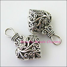 2Pcs Antiqued Silver Tone Purse Heart Flower Charms Pendants 19x31mm